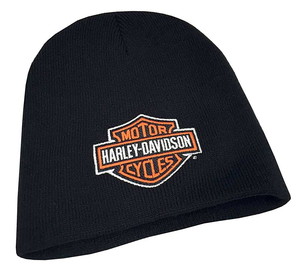 Harley-Davidson Mens Embroidered Bar & Shield Knit Beanie Cap, Black KNCUS020130 Global Products Inc.