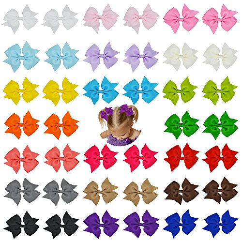 Prohouse 40Pcs 20 Pairs Baby Girl Grosgrain Ribbon Boutique Hair Bows For Teens Baby Girls Babies Toddlers