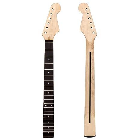 Kmise - 22 trastes en negro brillante para mástil de guitarra eléctrica para sustitución de piezas