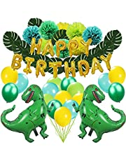 Zooawa Happy Birthday Decoration Set, [63 PCS] Cartoon Dinosaur Jungle Jurassic Garland Supplies Decorations Favor  Kids Birthday Party - Green