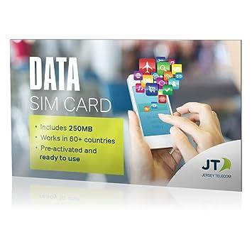 SIM de Datos Internacional JT con 250MB para Europa, Norteamérica, Asia y más