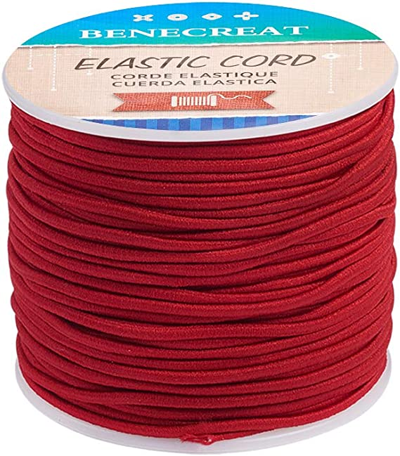 Imagen deBENECREAT 50m 2mm Cordón Elástico Hilo de Nylon de Rebordear Tela Hilo para Cuentas Pelo y Manualidad Marrón Rojizo