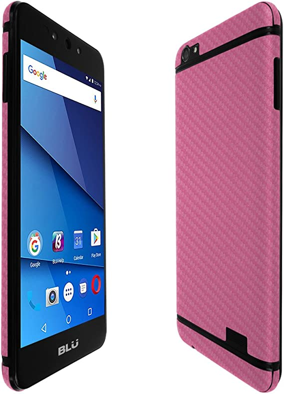 TechSkin with Anti-Bubble Clear Film Screen Protector Full Coverage Skinomi Pink Carbon Fiber Full Body Skin Compatible with Samsung Galaxy Note 8