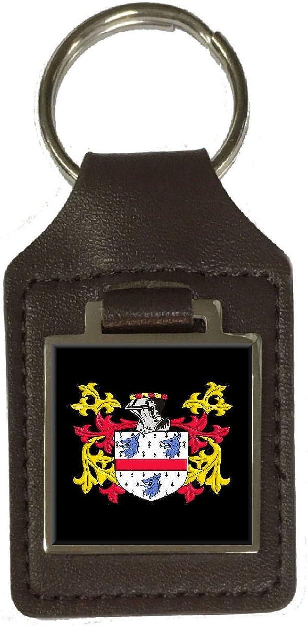 Miller Family Crest Surname Coat Of Arms Brown Leather Keyring Engraved