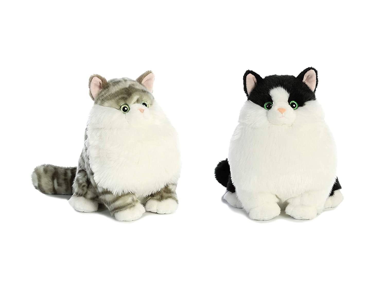 Dumpling Grey Tabby and Muffins Tuxedo Cat Aurora Bundle of 2-9.5 inch Fat Cats