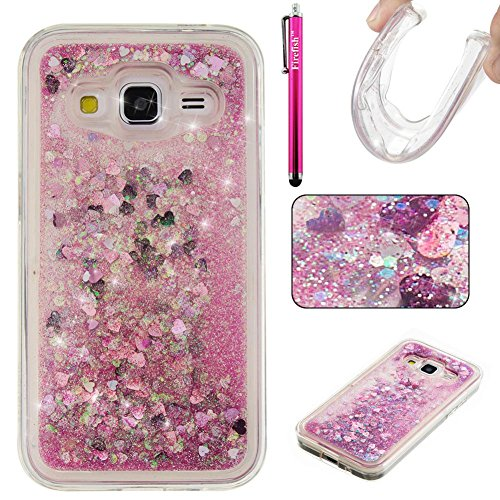 Galaxy G360 Case, Galaxy Core Prime Case, Firefish Bling 3D Sparkle Floating Dynamic Flowing Shockproof [Flexible] Gel Silicone [No Slip] Back Cover for Samsung Galaxy Core Prime G360 -Pink