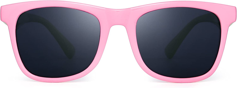 Polarized Kids Classic Sunglasses Square for Children Boys Girls Rubber Flexible Shades Age 3-8