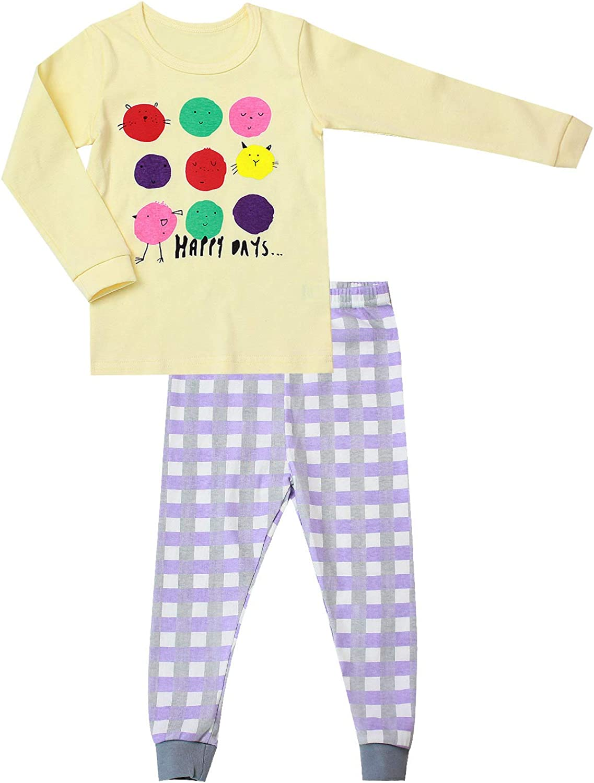 120 OllCHAENGi Little Boys Girls Kids Cotton Pajama Sleepwear Set Long Sleeve 18M-12Y Snow Tree Mint