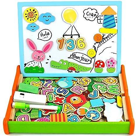 Puzzles magnéticos de madera con pizarra para niños de 3 4 5 años de edad: Amazon.es: Juguetes y juegos