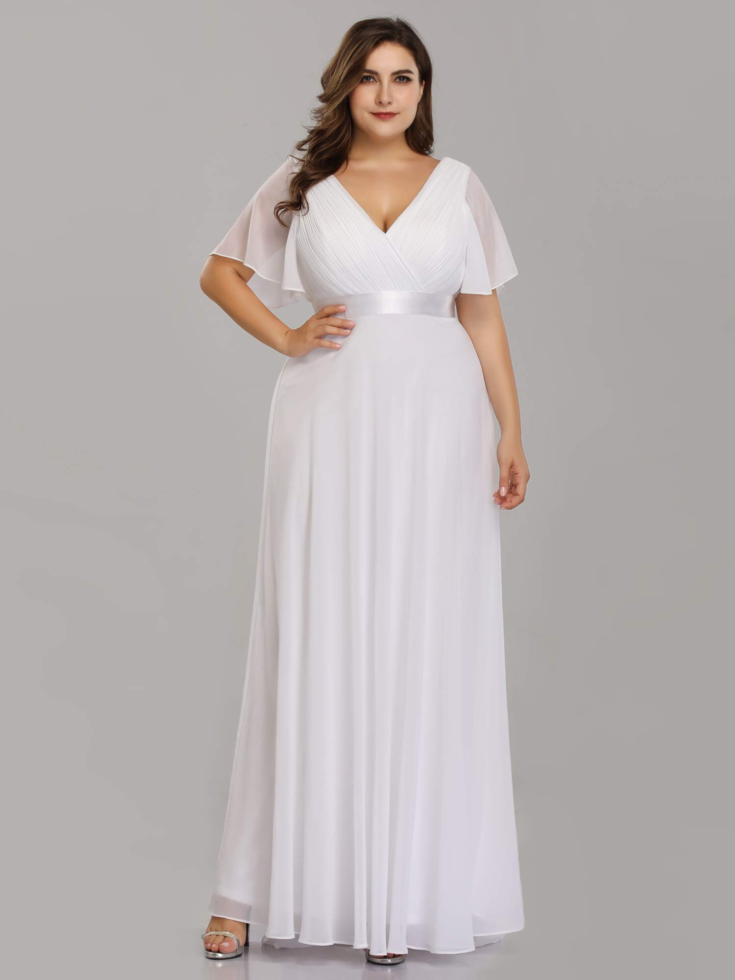 Alisapan Womens V-Neck Plus Size Formal Gowns Mother of The Bride ...