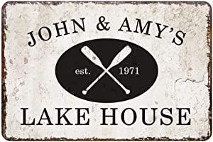 aianhe Personalized Lake House Sign Vintage Distressed Look Custom Metal and Wood Sign Plaque Decor