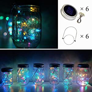 Cynzia Solar Mason Jar Lid Lights, 6 Pack 10 LED Waterproof Fairy Star Firefly String Lights with 6 Hangers (Jar Not Included), for Mason Jar Garden Wedding Christmas Party Decor (4 Colors)