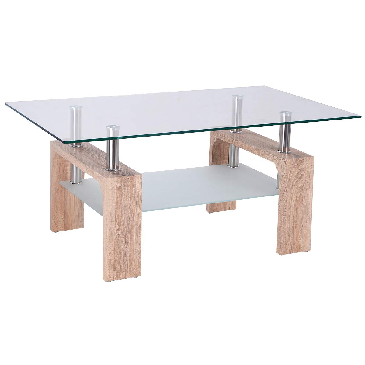 Black Tangkula Glass Coffee Table Modern Simple Style Rectangular Wood Legs End Side Table Living Room Home Furniture with Shelf