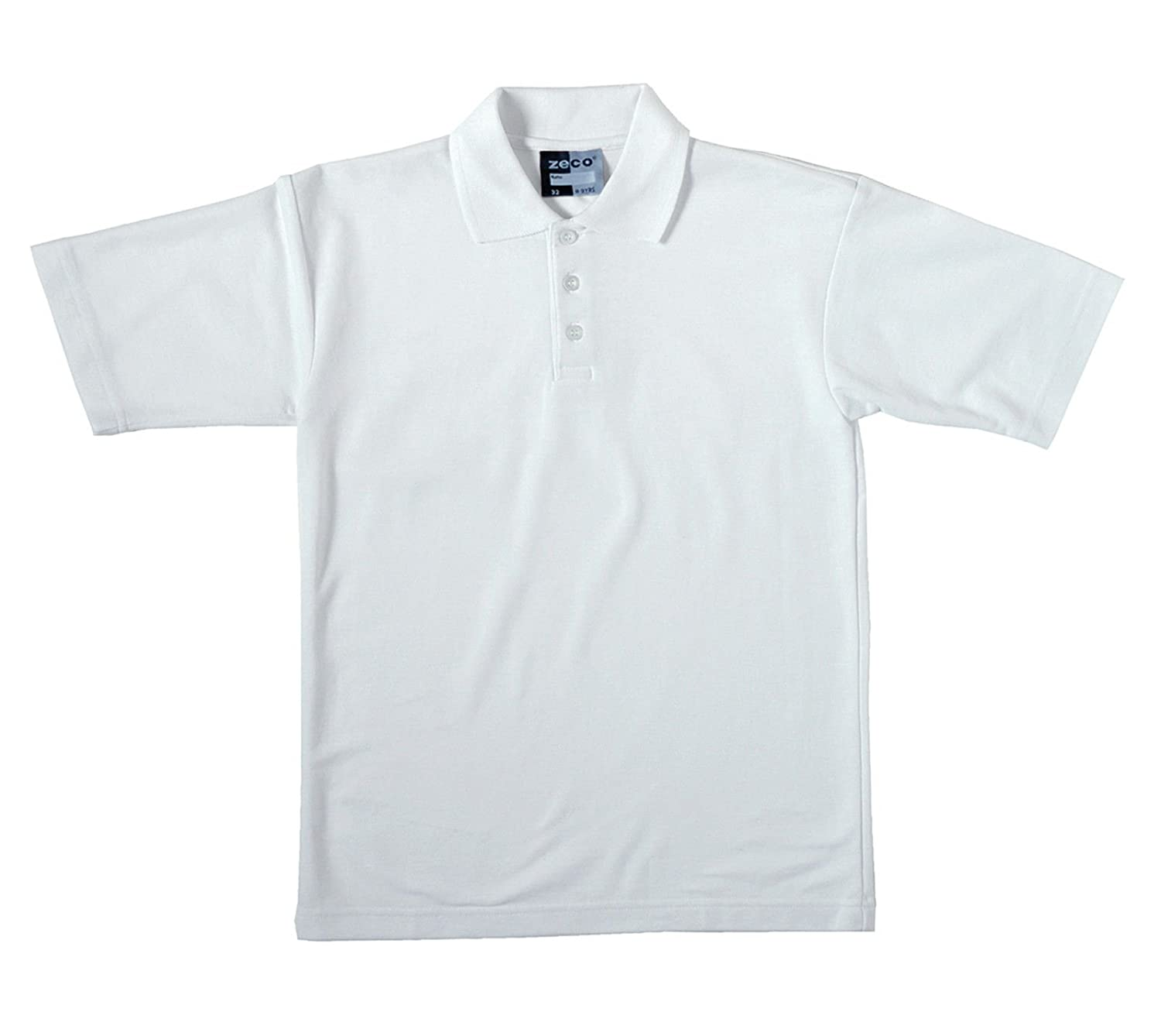 Zeco sold by Essential Wear 2 School Boys Quality White Short Sleeve Polo Shirt Age 2 3 4 5 6 7 8 9 10 11