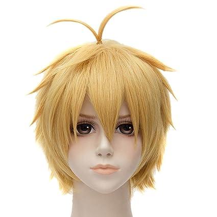 Unisex oro amarillas peluca Corto lisa pelo Anime Completo pelucas sintéticas
