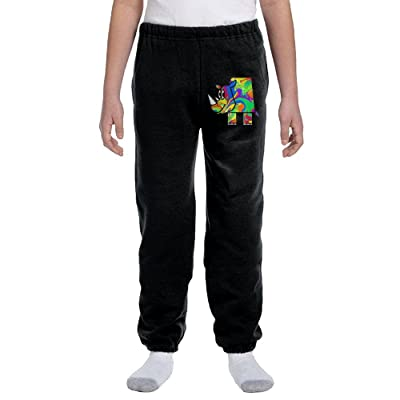 Luosi-77 Teenager Boys Soft/Cozy Sweatpants Colorful Rhino Fleece Pants