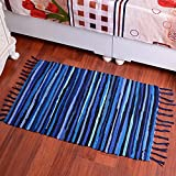 yazi Hand loomed Rag Rug Handwoven Colorful Chindi Woven Rag Rug Boho Decorative Indian Bohemian 20-Inches by 31.5-Inches, Blue Color