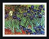 Alonline Art Irises Vincent Van Gogh Black FRAMED POSTER (Print on 100% Cotton CANVAS on foam board) - READY TO HANG | 38''x29'' | Frame Framed Wall Art For Home Decor Framed Posters For Bedroom