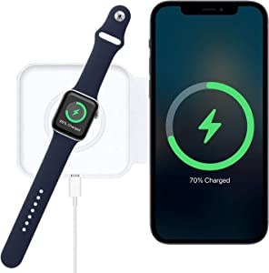 2 in 1 Wireless Charger for Magnetic Charger Dual Charger for iPhone 12 Mini /12 Pro / 12 Pro Max/ 11 Series/X/XR, AirPods Pro, iWatch