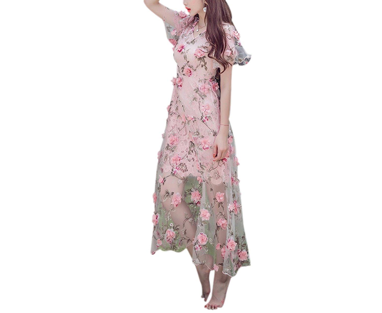 New Summer Handmade Embroidery Flower Perspective 3D Woman Dress Pink Female