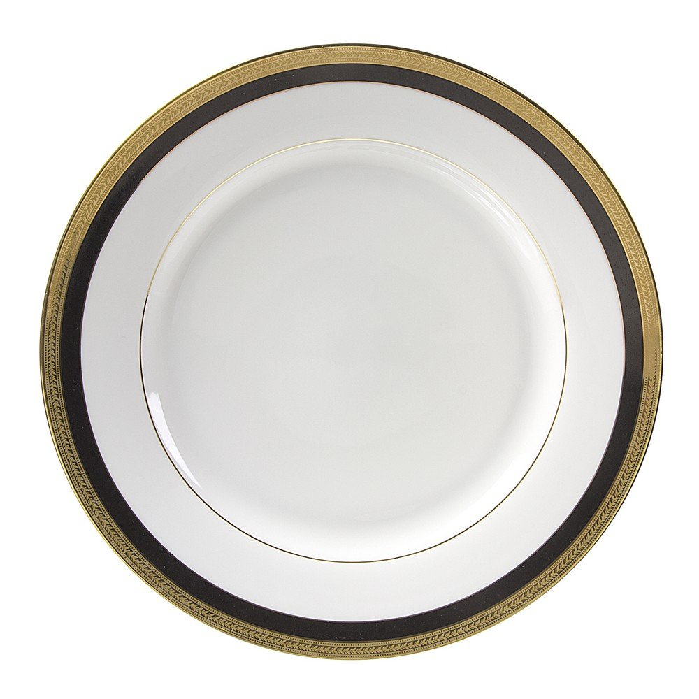 10 Strawberry Street Sahara Black 11.875'' Charger/Buffet Plate, Set of 6, White/Black/Gold