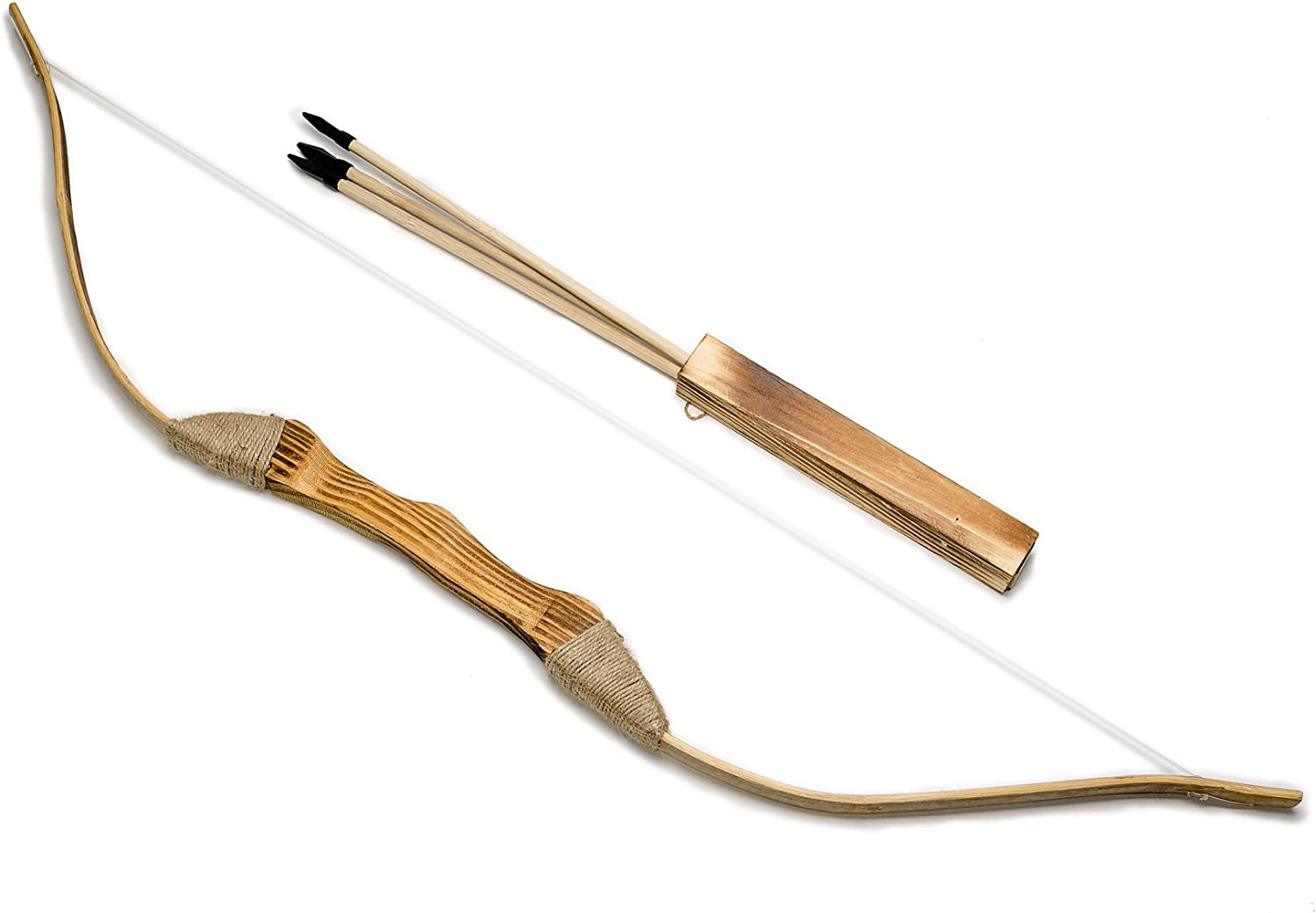 39in Quiver and Arrows Archery for Kids Wooden Rustic Bow 99cm