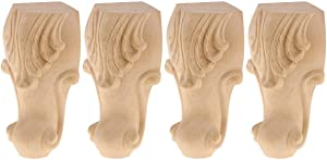 4 inch / 10cm Wooden Furniture Legs, La Vane Set of 4 European Style Solid Wood Carving Furniture Replacement Feet Decoration for Sofa Cabinet Wardrobe Table Loveseat