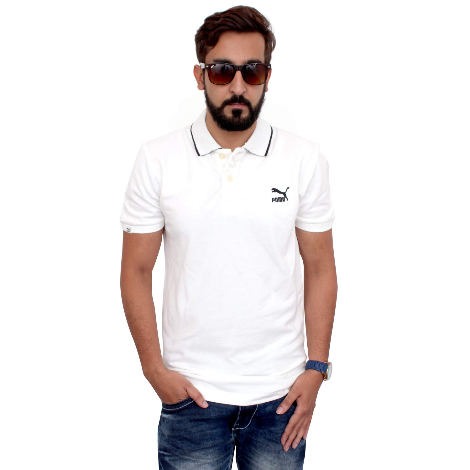 Puma Men Solid White T-Shirt: Amazon.es: Ropa y accesorios
