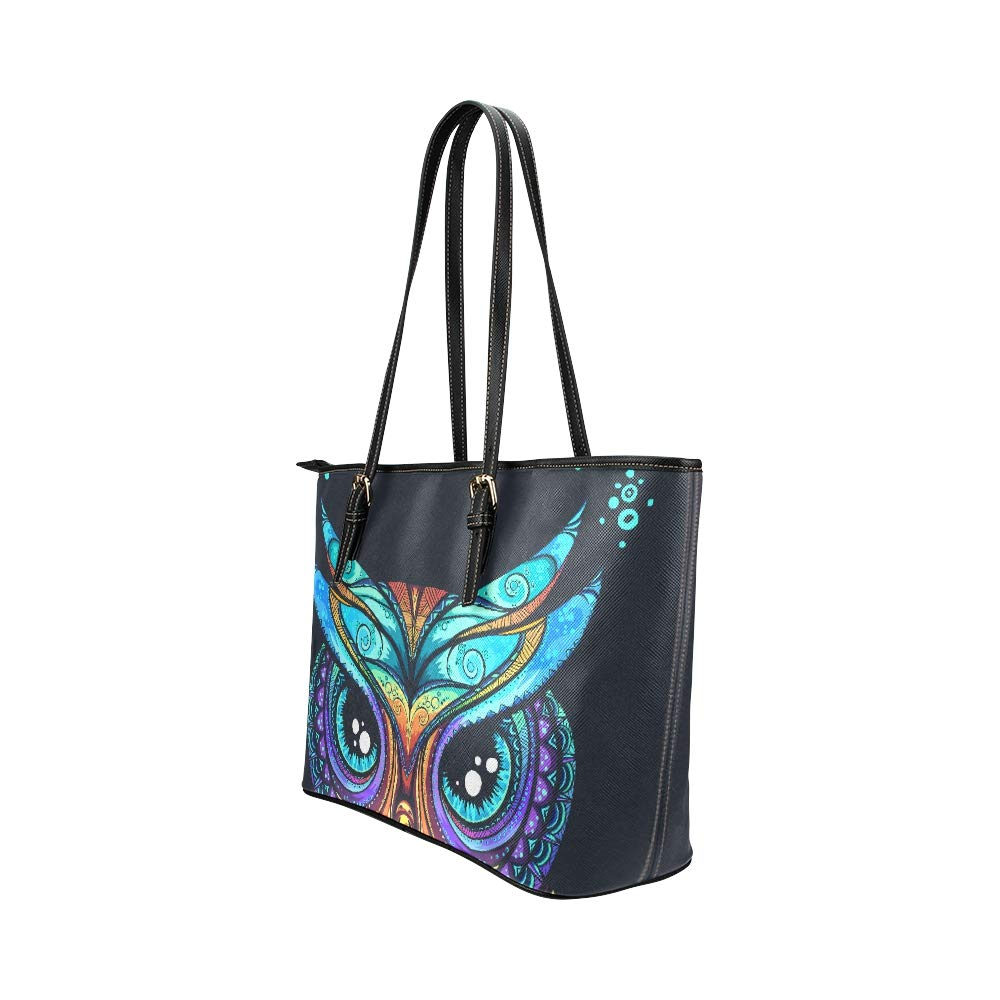 Good Night Cute Animal Painted Owl Large Soft Leather Portable Top Handle Hand Totes Bags Causal Handbags With Zipper Shoulder Shopping Purse Luggage Organizer For Lady Girls Womens Work