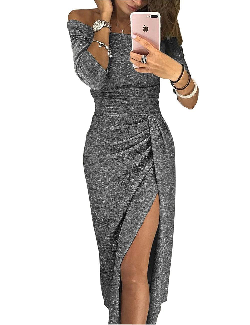 da0c1492760df Lrud Mujeres Shiny Off Shoulder Ranura De Muslo Fruncido Sexy Midi Vestidos  de Fiesta  Amazon.es  Ropa y accesorios