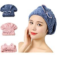 2 Packs Hair Drying Caps, [Ultra-Absorbent] Rapid Dry Hair Wrap Towel Soft Bow-Knot Microfiber Shower Wet Hair Dry…