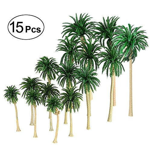 Lanren 15Pcs Model Palm Cononut Trees 2 8   6 3 7 16 Cm Mixed Model Trees Ho O N Z Scale  Perfect For All Scenery Landscape Cake Toppers Decoration