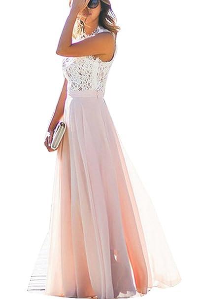 bieten eine große Auswahl an Modestile schnüren in Damen Kleid Festliche A Line Swing Kleider Brautjungfer Hochzeit  Cocktailkleid Chiffon Faltenrock Elegant Langes Abendkleid