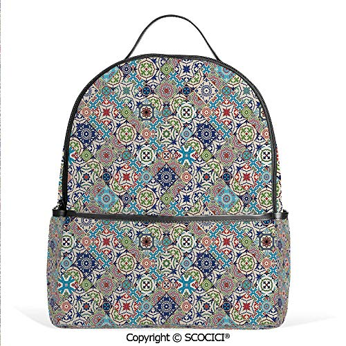 Casual Fashion Backpack Complex Colorful Set of Moroccan Tile Motifs Antique Floral Ornaments Arabesque,Multicolor,Mini Daypack for Women & Girls (Pottery 12 Days Barn Of Ornaments Christmas)