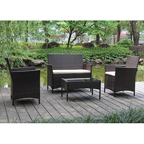 On Patio Furniture Ratten Dining Sets 4PCS With Beige Cushion, Outdoor Wicker Sofa Porch Patio Place Furniture Outdoor