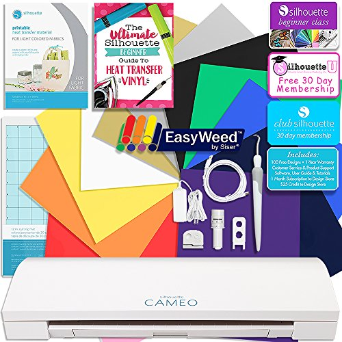 Silhouette CAMEO 3 Siser Easyweed Heat Transfer T-Shirt Bundle with 12x15 Siser Heat Transfer Material, Guide, Beginner Class, and More by Silhouette