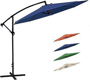 HZHYSEA 10ft Patio Offset Umbrella Cantilever Umbrella Hanging Market Umbrella Outdoor Umbrellas with Crank & Cross Bases (Navy Blue)