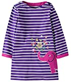 Fiream Girls Cotton Longsleeve Casual Dresses Applique Cartoon (S0277,3T/3-4YRS)
