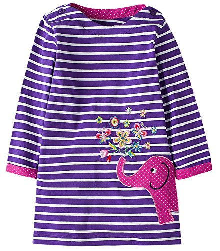 Fiream Girls Cotton Longsleeve Casual Dresses Applique Cartoon (S0277,3T/3-4YRS) by Fiream