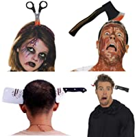 Halloween Costume Scary Weapon Headbands, 4 Packs Rubber Plastic Knife Axe Cleaver and Scissor Through Head, Zombie…