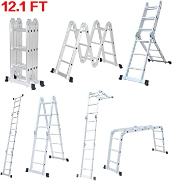 Finether 12,1 FT Escalera telescópica de aluminio extensible, normativa UNE EN-131: Amazon.es: Bricolaje y herramientas