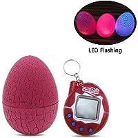 Umiwe Virtual Pet Keychain 80s90sVirtuelles Haustier LED Digitales Haustierspielzeug mit Tumber Dinosaurier-Ei, virtuelles elektronisches Haustierspielzeug für Kinder und Erwachsene(LED Pink)