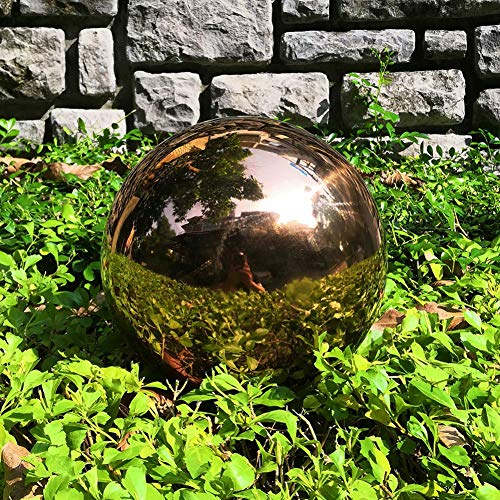 HomDSim 30 cm/12 inch Diameter Gazing Globe Mirror Ball,Rose Gold Stainless Steel Polished Reflective Smooth Garden Sphere,Colorful and Shiny Addition to Any Garden or Home