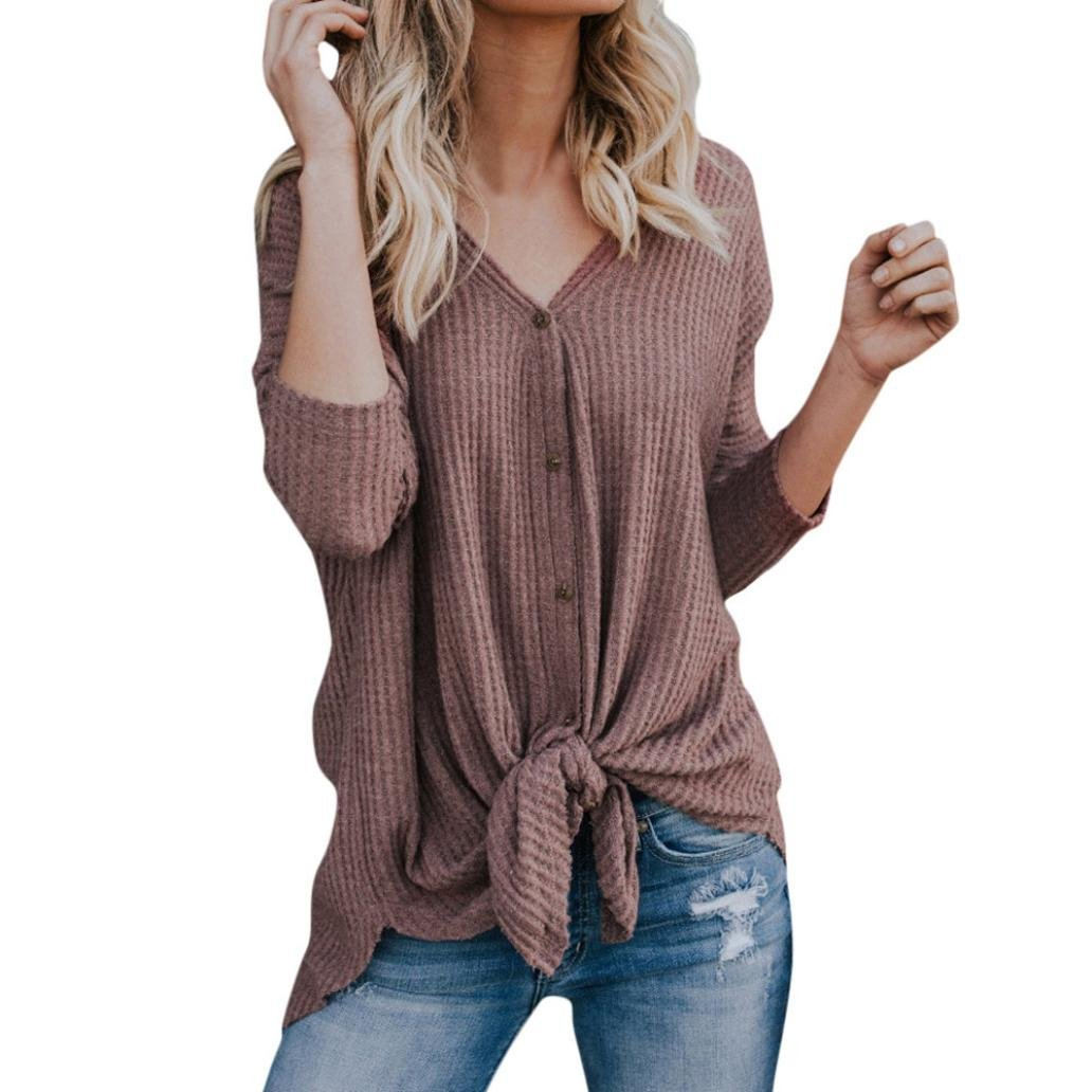 2018 Womens Loose Knit Tie Front Tunic Top Henley Bat Wing Plain Shirts Blouse by-NEWONESUN