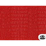 Vinyl Crocodile GATOR RED Faux / Fake Leather Fabric By the Yard