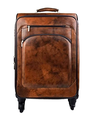Trolley rigido bolsa de viaje de cuero marron oscuro bolsa de cuero con ruedas de hombre