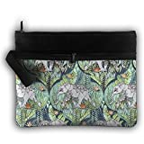 Bing4Bing Double-deck Elephant Totem Slice Before Printing Jewelry Bag Cosmetic Bag Toiletries Bag