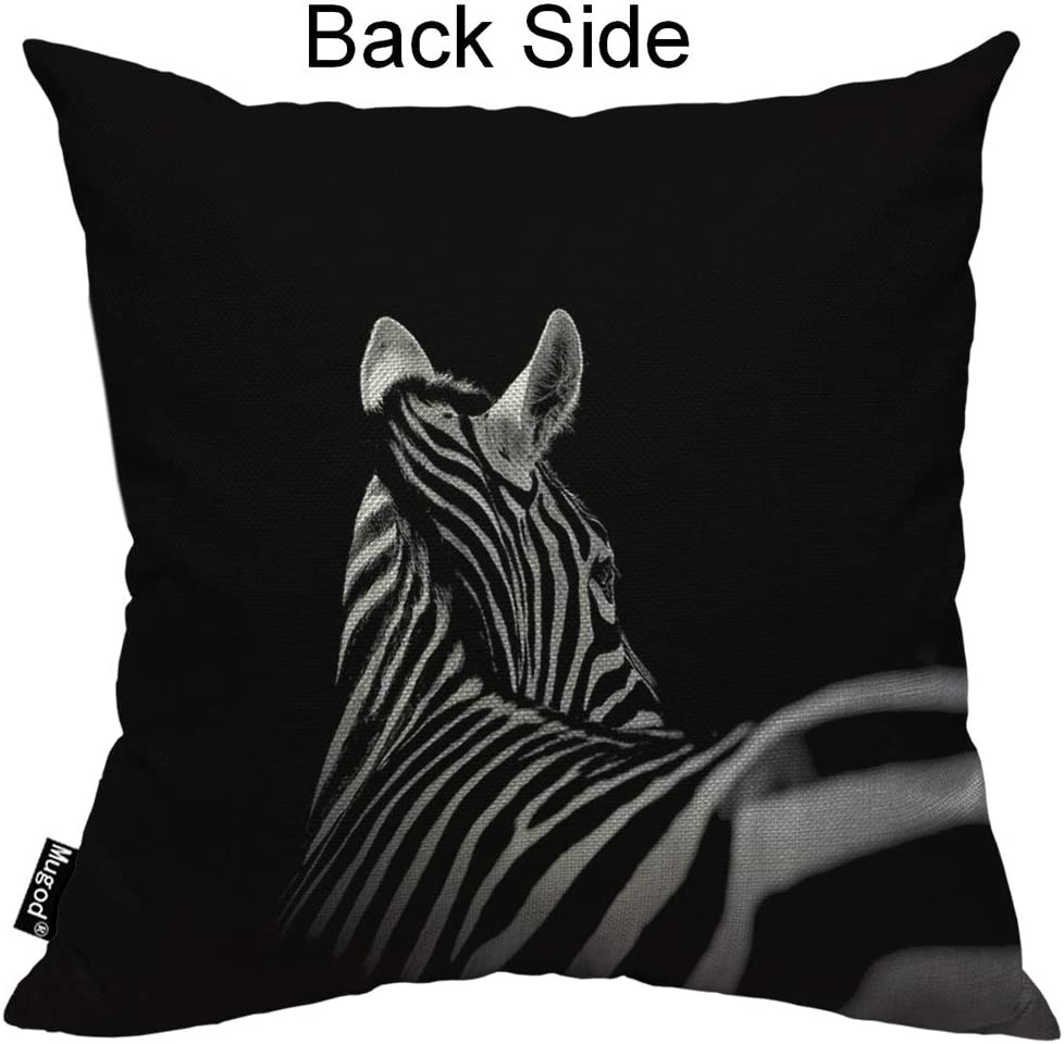 Mugod Zebra Decorative Throw Pillow Cover Case African Animal Look Back Beautiful Stripes Black And White Cotton Linen Pillow Cases Square Standard Cushion Covers For Couch Sofa Bed 18x18 Inch Amazon Co Uk Kitchen
