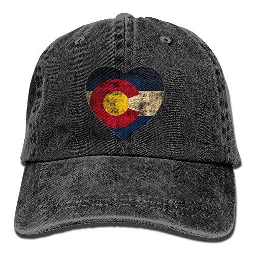 (Vintage Colorado Flag Heart Fashion Denim Baseball Adjustable Caps Hats)
