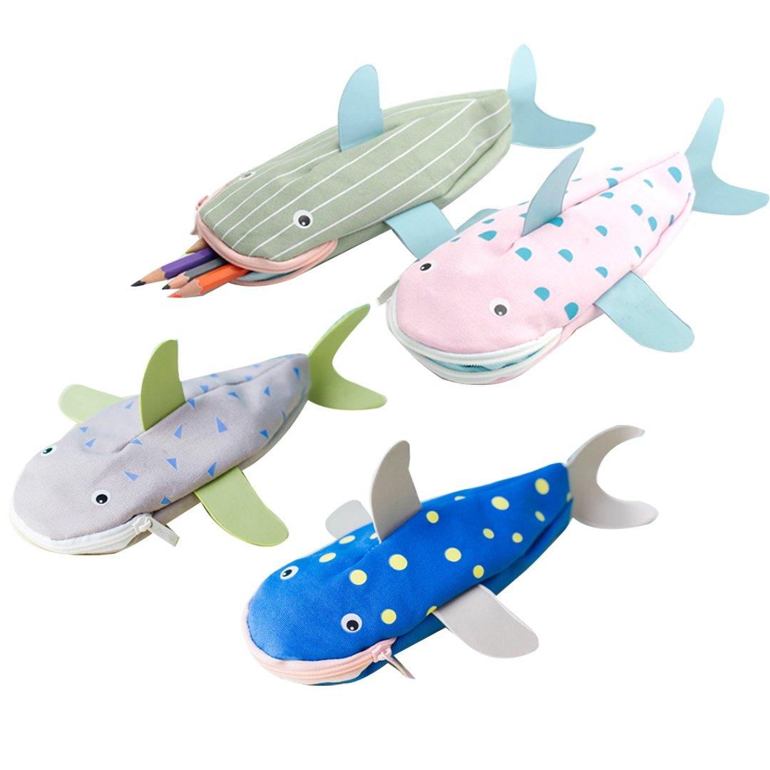 CLARA Cute 3D Shark Shape Pencil Bag Animal Canvas Students Pencil Case(1Pcs, Color Random)